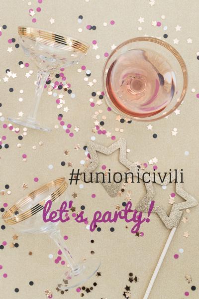 dettaglio confetti e bicchiere champagne - unione civile idee per la festa